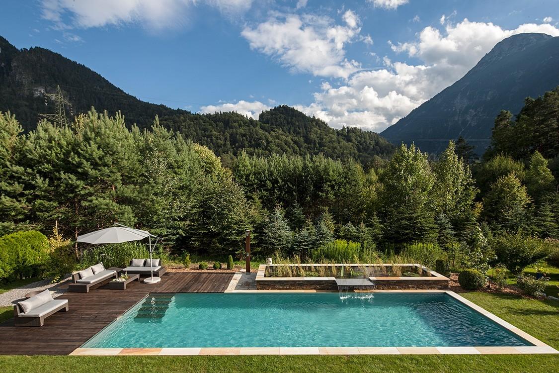 Bio Pool In Österreich Mit Edelstahl Wasserfall